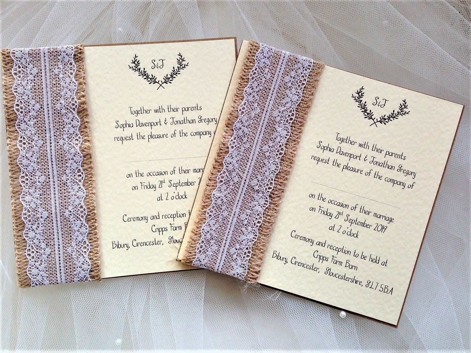 Burlap and Lace Wedding Invites | Rustic Wedding Invites