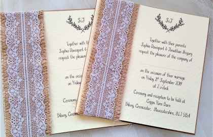 Burlap and Lace Wedding Invites