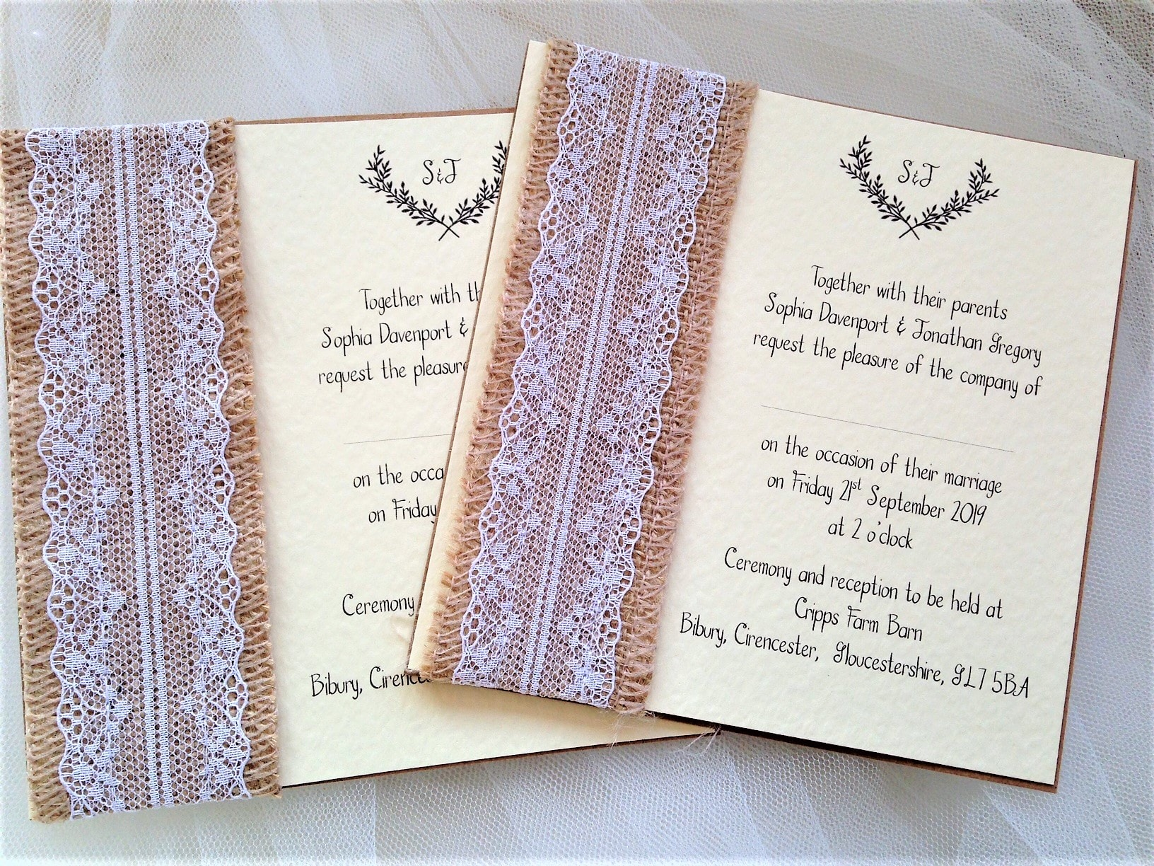 Lace Wedding Invitation: Burlap And Lace Wedding Invites