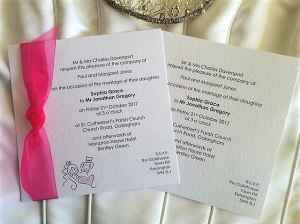 Bride and Groom Fuchsia Wedding Invitation