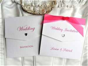 Tri Fold Wedding Invitations with Fuchsia Ribbon