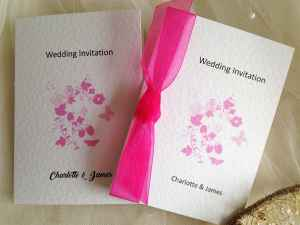 Fuchsia Butterfly Wedding Invitations
