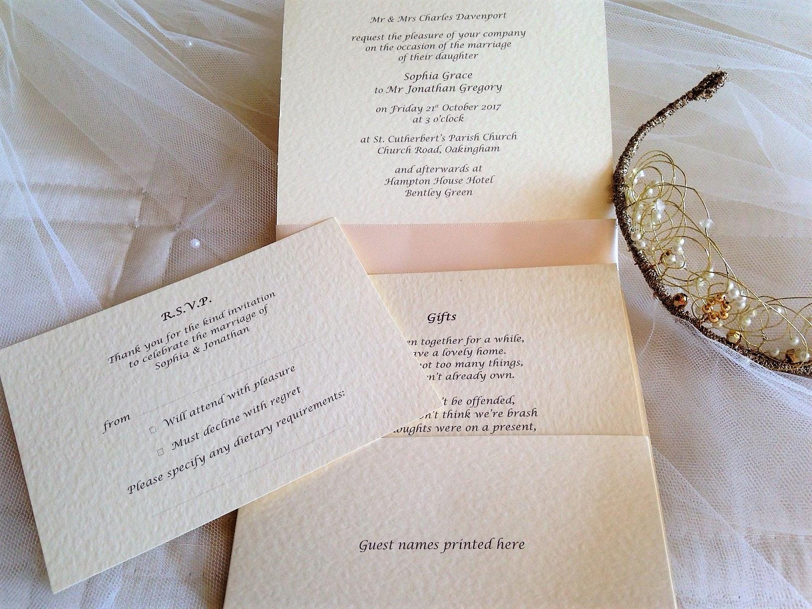 Ivory Pocketfold Wedding Invitations - Daisy Chain Invites