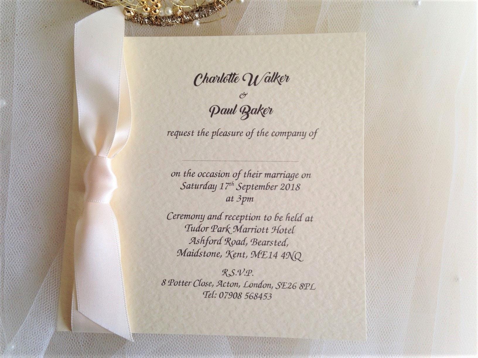 Ivory Wedding Invitations: Ivory Wedding Invites 85p