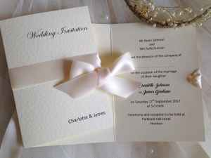 Wrap Ribbon Ivory Wedding Invitation
