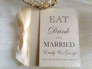 Eat, Drink and Be Married Ivory Wedding Invitations