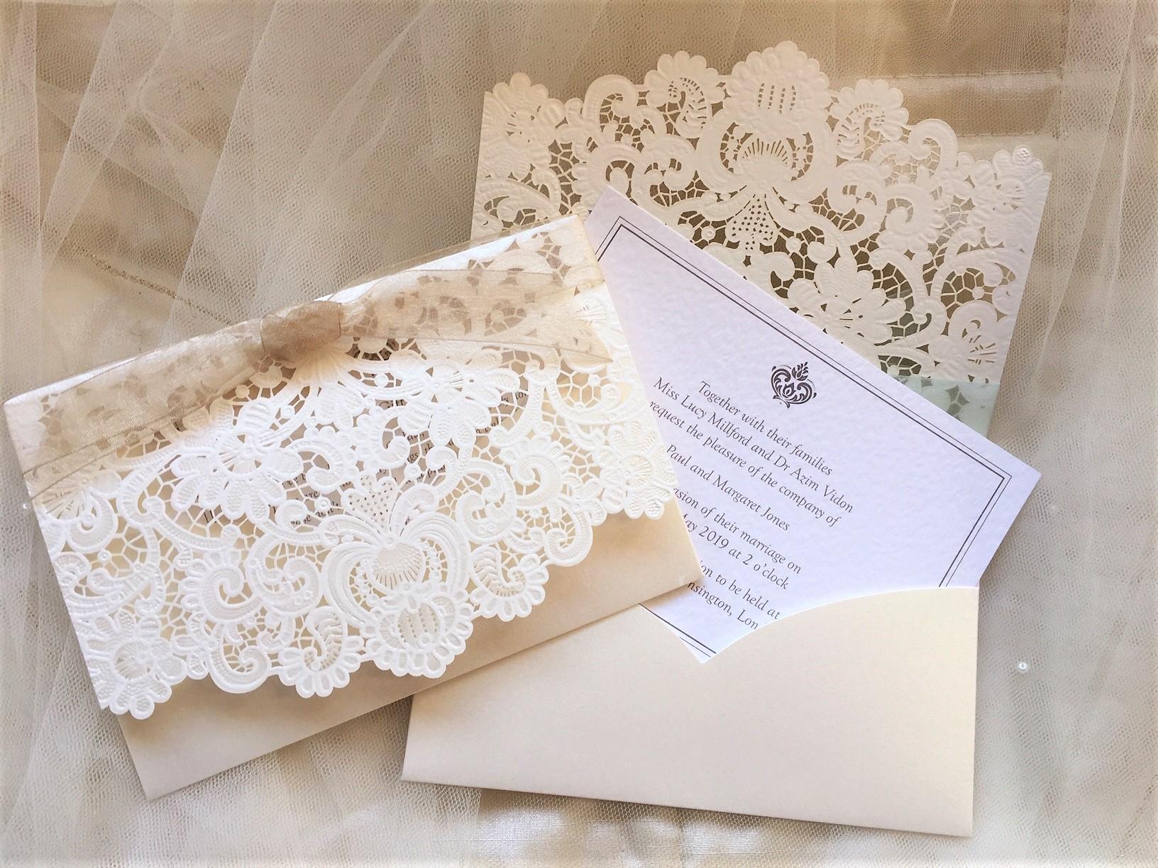 laser cut wallet wedding invites £225  uk wedding