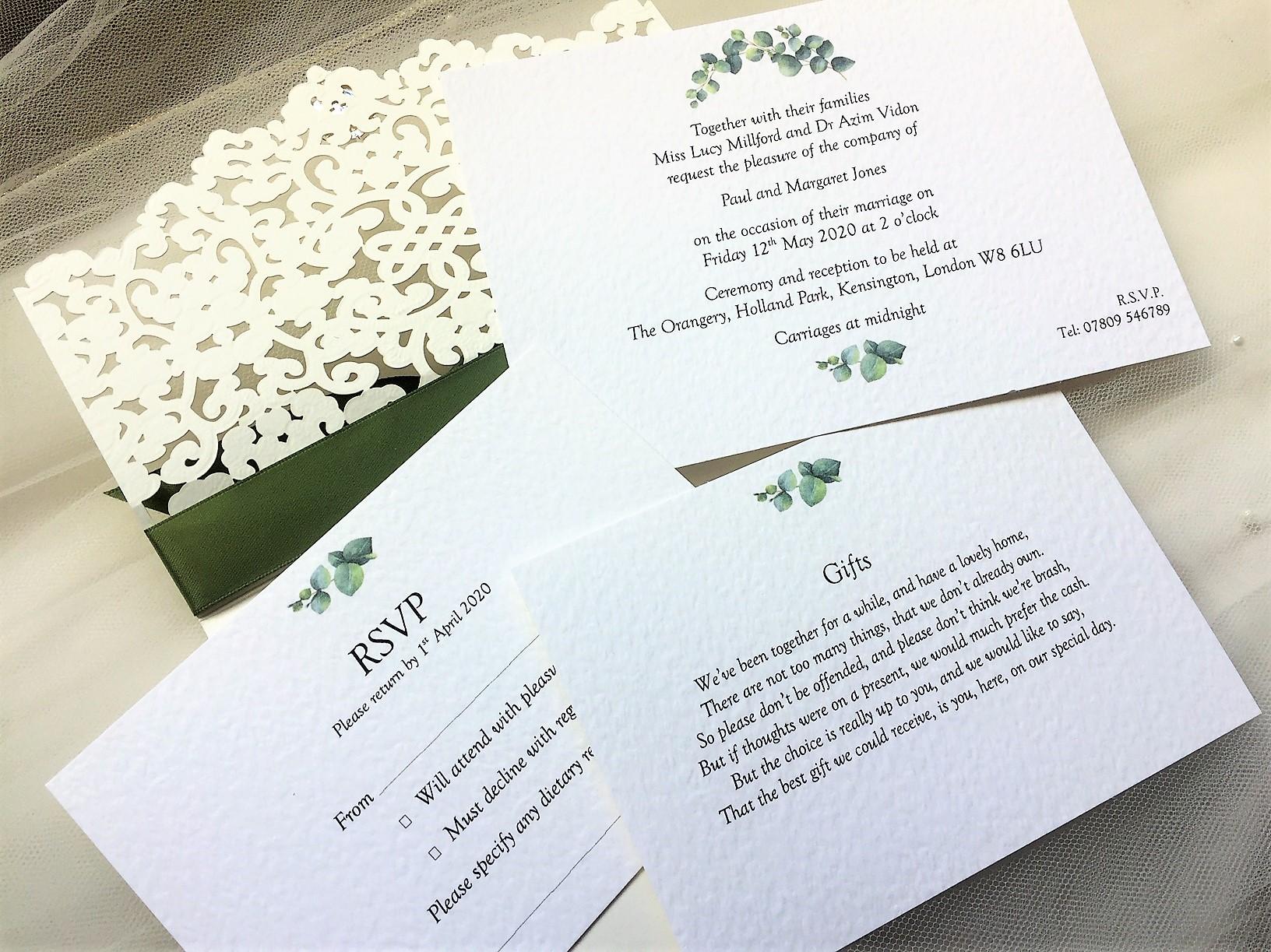 Affordable Laser Cut Wedding Invitations: Laser Cut Wallet Wedding Invites £2.50