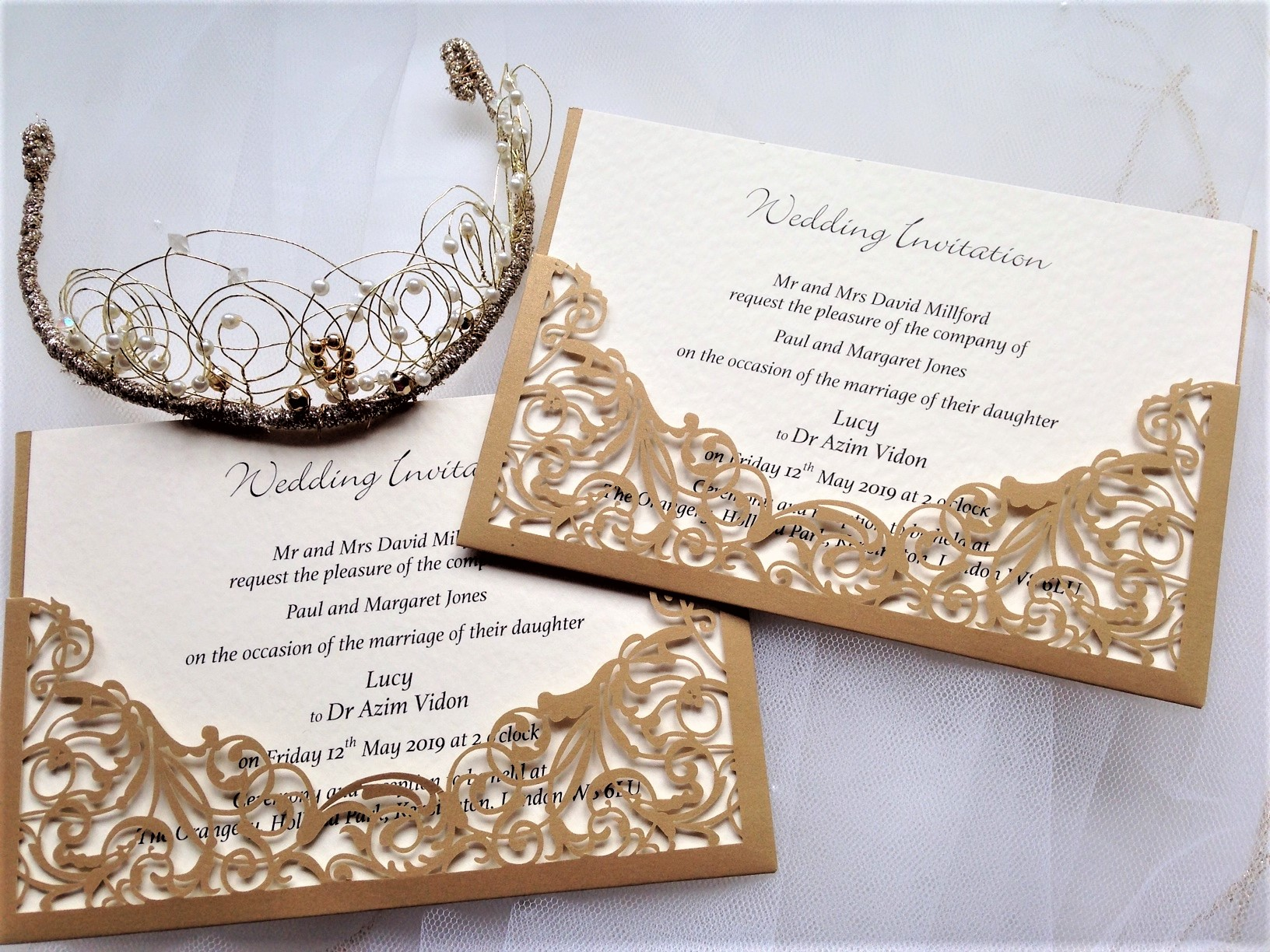 Gold Pocket Laser Cut Wedding Invitations