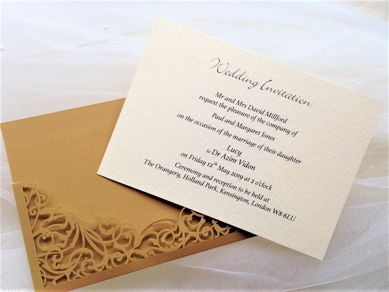 Laser Cut Out Wedding Invitations: Gold Pocket Laser Cut Wedding Invitations £2.25