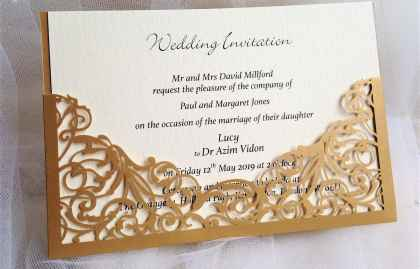 Laser Cut Wedding Invitations – Gold Pocket