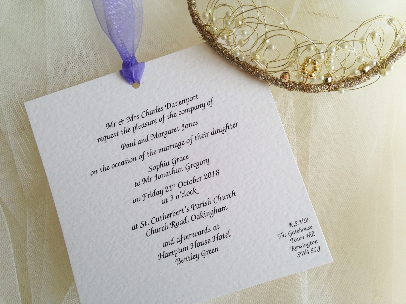 Lilac Chantilly Wedding Invitations - Daisy Chain Invites
