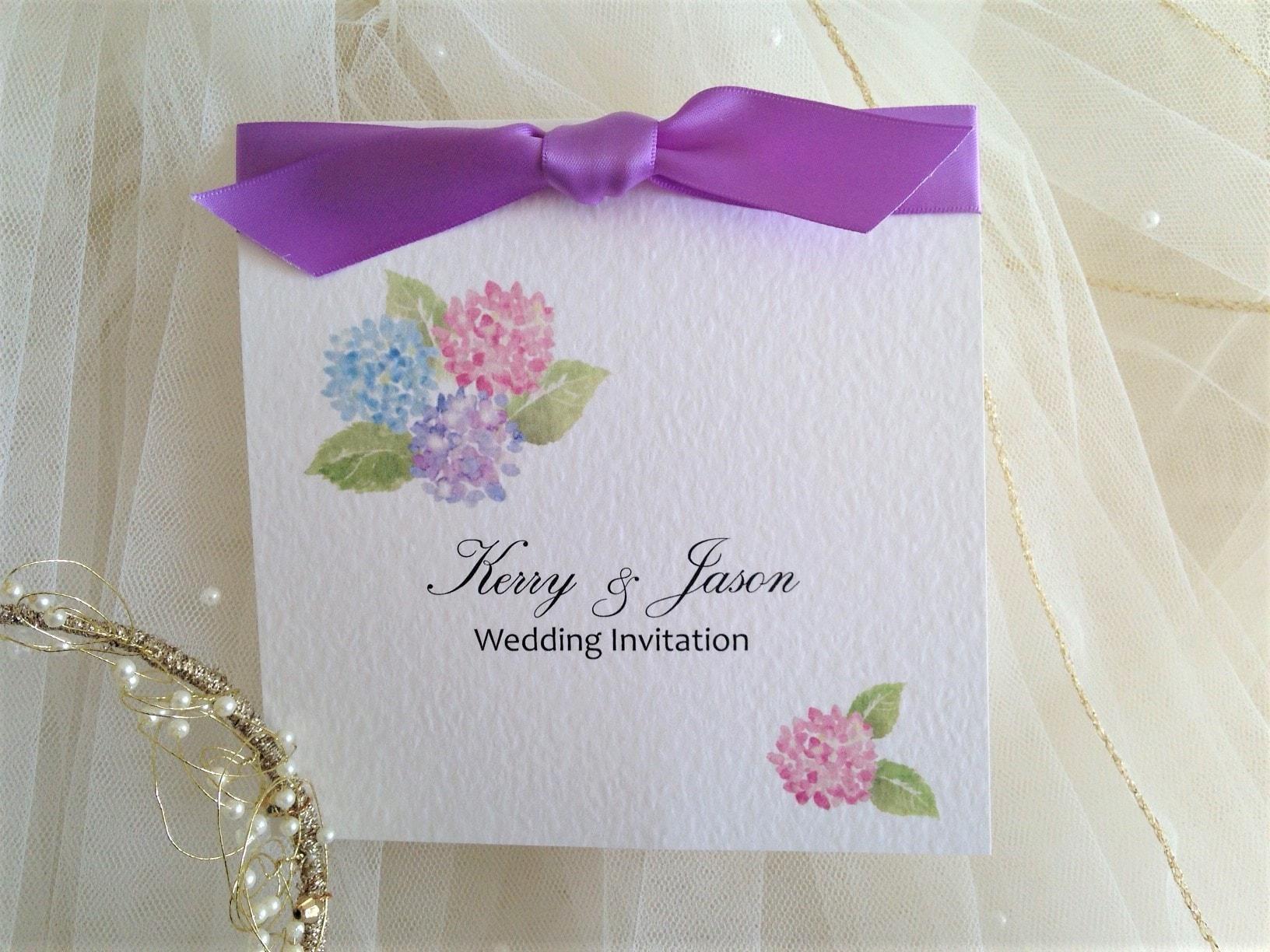 hydrangea wedding invitations with lilac ribbon daisy chain invites