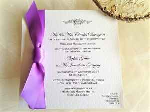 Lilac Motif Square Wedding Invitations
