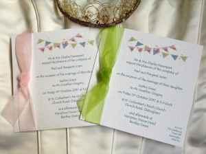Moss Wedding Invitations - Summer Bunting