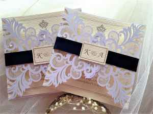 Laser Cut Wedding Invitations with Navy Belly Band