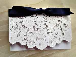 Laser Cut Wallet Wedding Invitations with Navy Ribbon