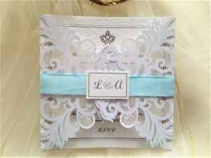 Pale Blue Laser Cut Wedding Invitations