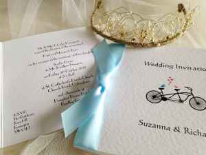 Pale blue Tandem wedding invitations