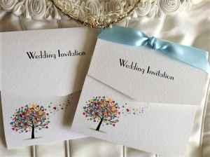 Love Tree Tri Fold Wedding Invitations with Pale Blue Ribbon
