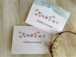 Pale Blue Summer Bunting Wedding Invitations