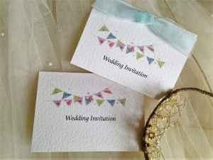 Pale Blue Summer Bunting Wedding Invitations