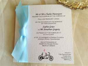 Pale Blue Tandem Bike Flat Square Wedding Invitations