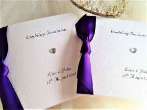 Purple Diamante Heart Centre Fold Wedding Invitations