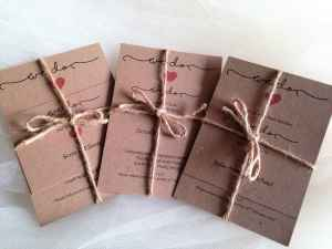 We Do Rustic Wedding Invitations with red heart