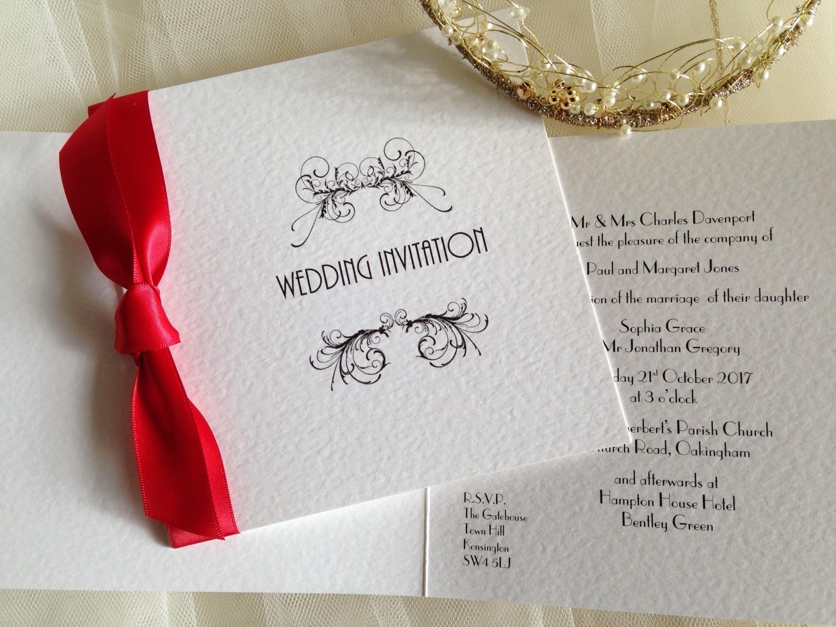 Red wedding invitations - Daisy Chain Invites