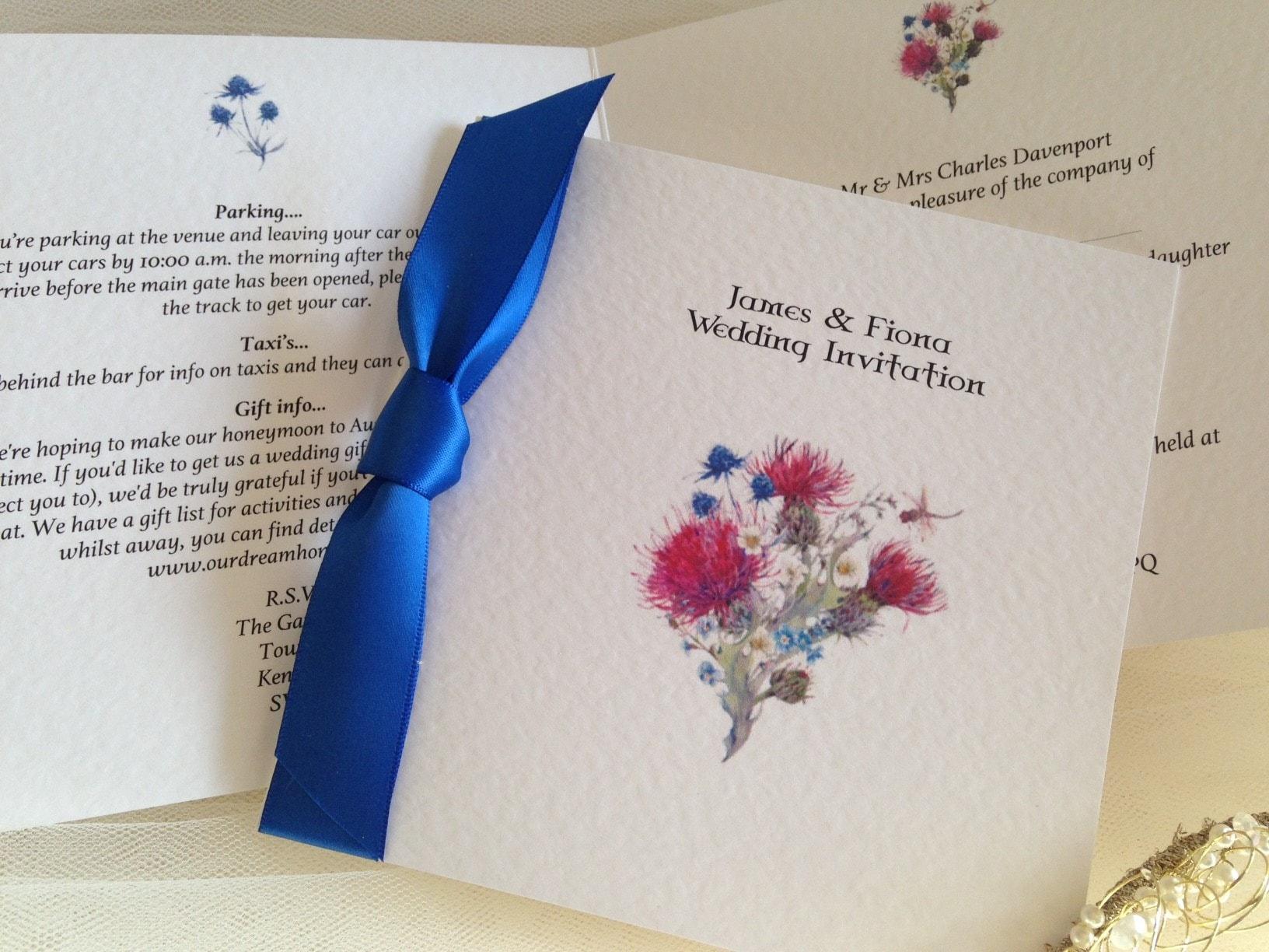 Scottish Thistle Wedding Invitations Daisy Chain Invites