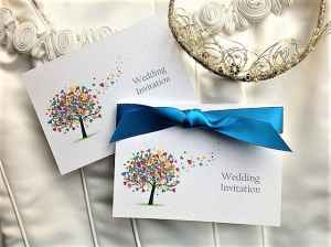 Love Tree Wedding Invitations with Royal Blue Ribbon