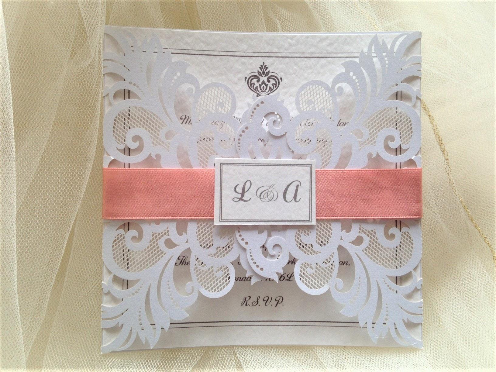 Laser Cut Out Wedding Invitations: Silver Laser Cut Wedding Invites