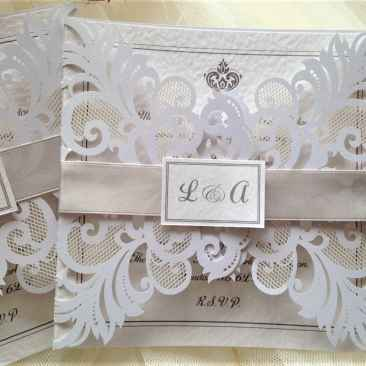 Silver Laser Cut Wedding Invites