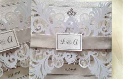 Silver Laser Cut Wedding Invites  SORRY OUT OF STOCK