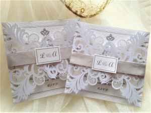 Silver Laser Cut Wedding Invitations