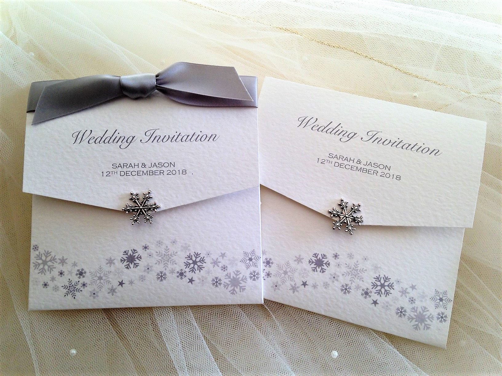 Silver Snowflake Wedding Invitations - Daisy Chain Invites
