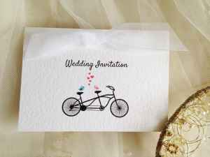 White Tandem Wedding Invitations with white ribbon