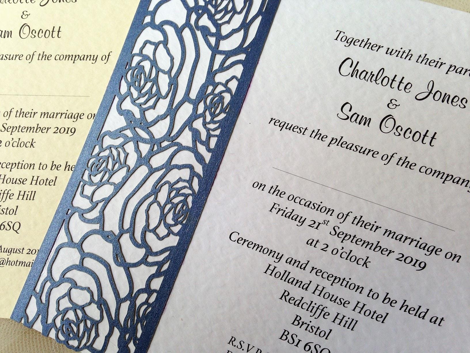 Laser Cut Rose Wedding Invitations