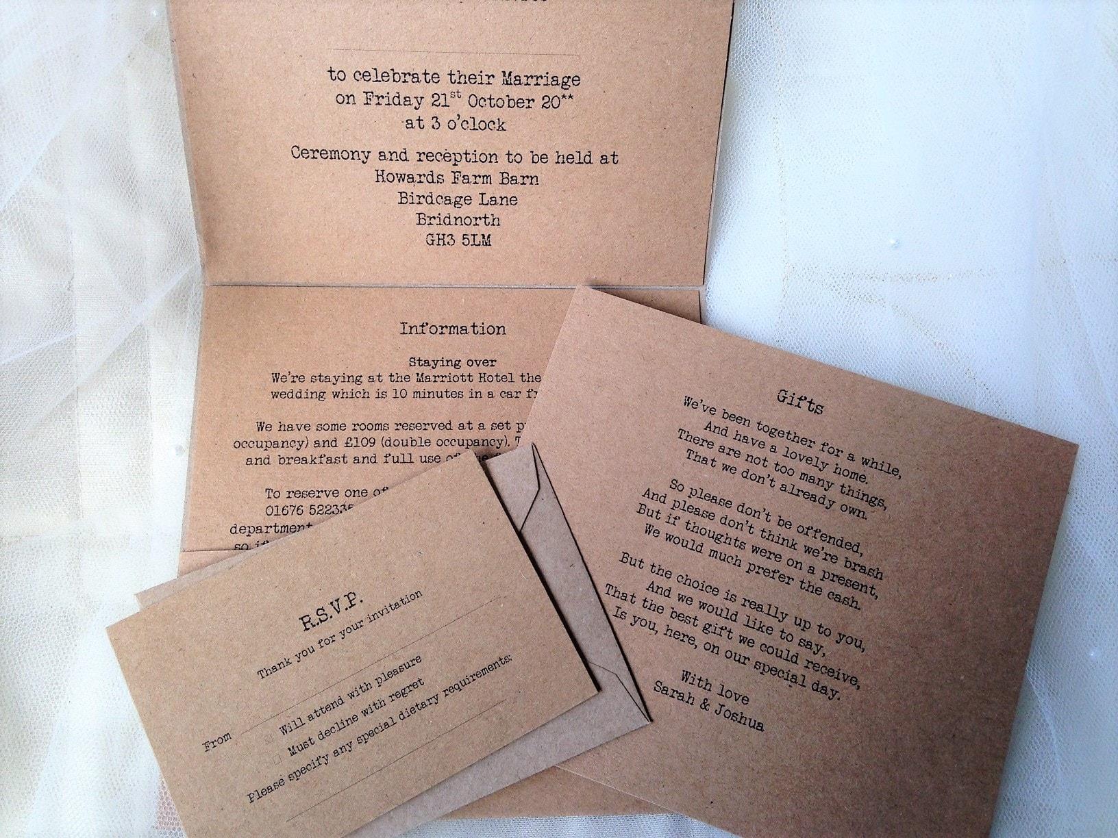 Wooden Heart Pocketfold Wedding Invites