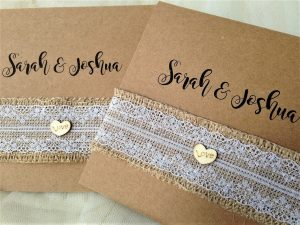 Wooden Heart Pocketfold Wedding Invites