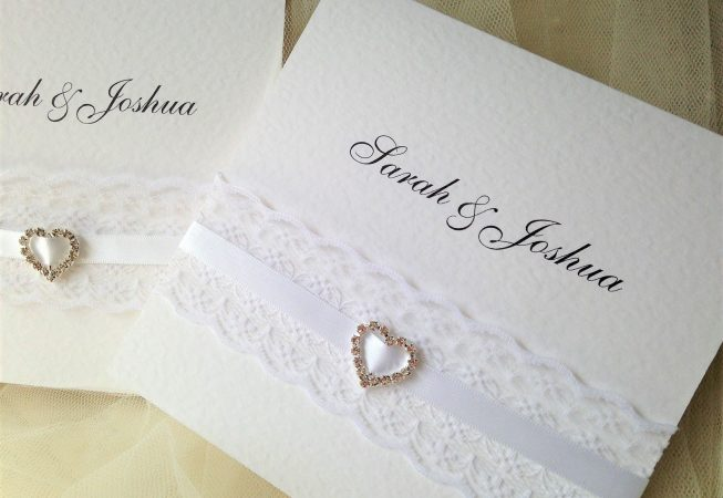 Ribbon and Lace Pocketfold Wedding Invitations