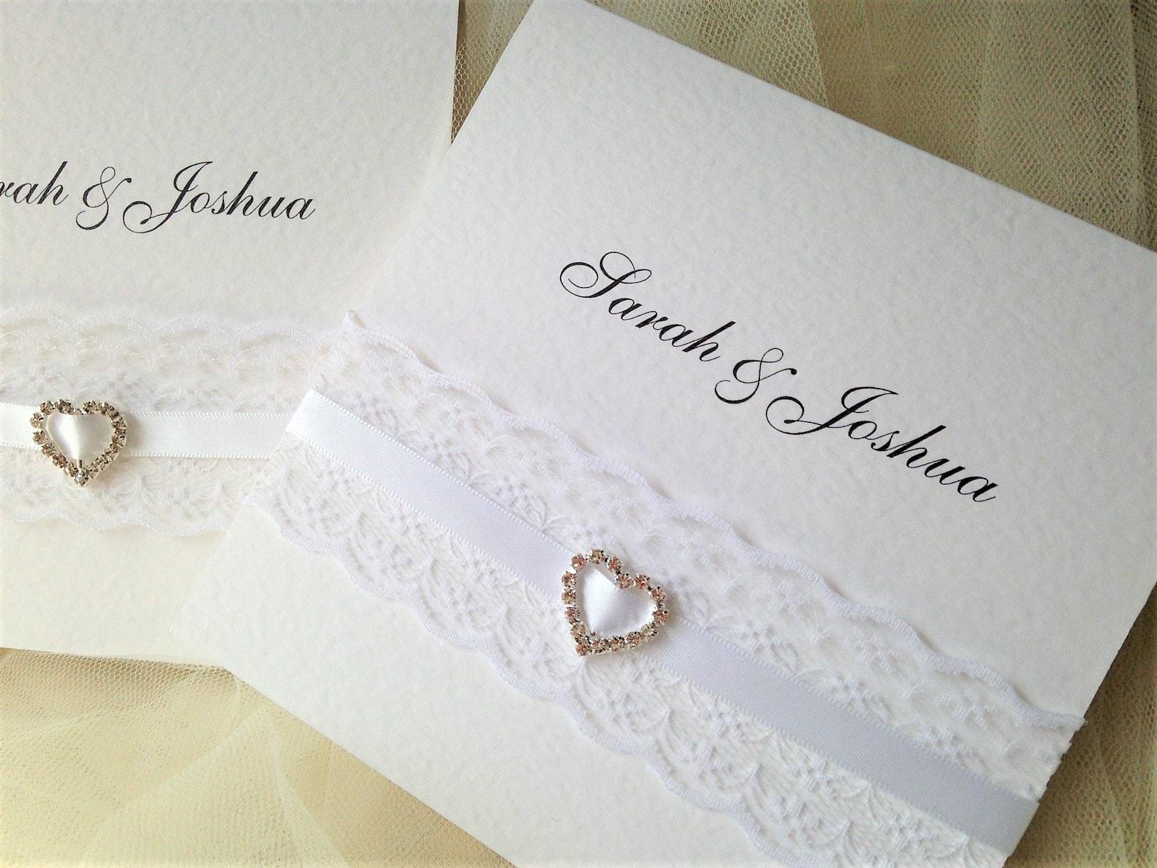 ribbon and lace pocketfold wedding invitations daisy chain invites