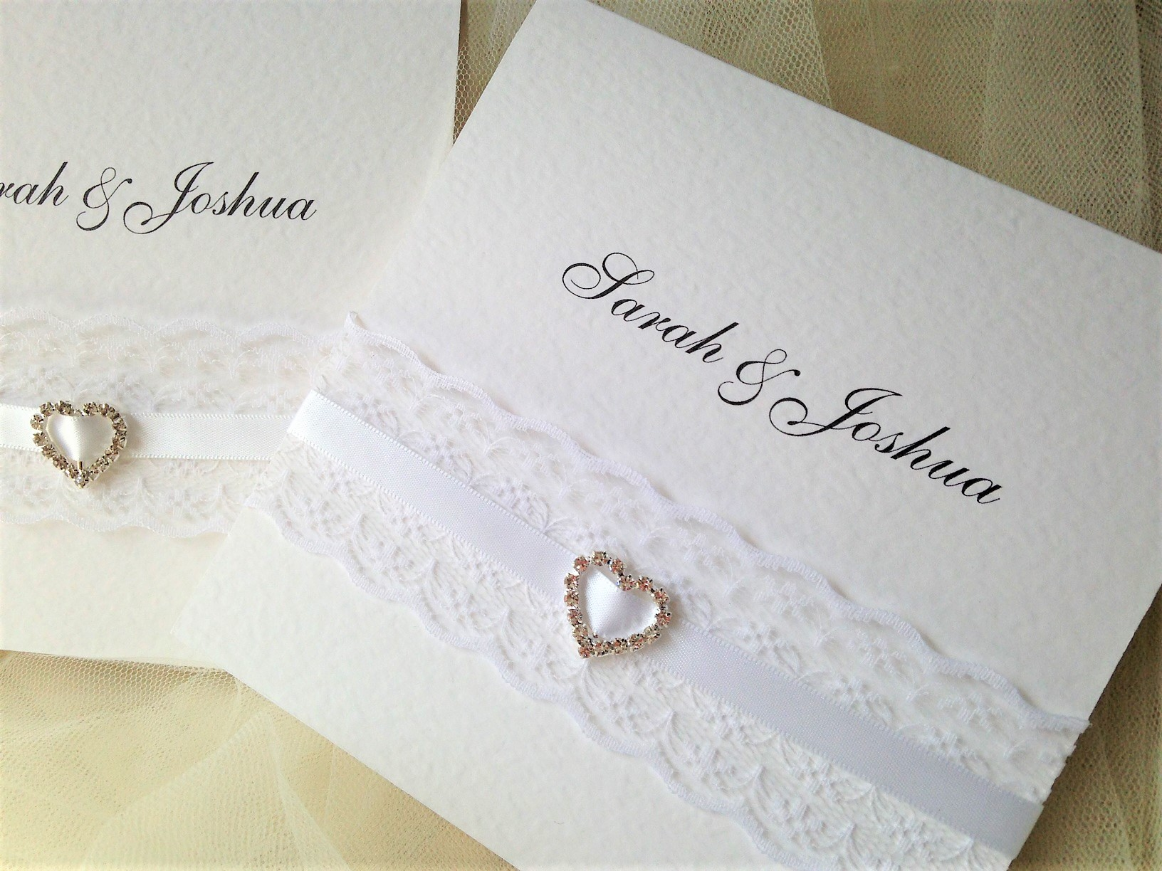 Wedding Invitations England: Ribbon And Lace Pocketfold Wedding Invitations