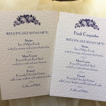 Blue Botanical Personalised Menu Cards