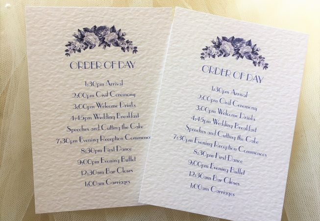 Blue Botanical Wedding Order of Day Cards