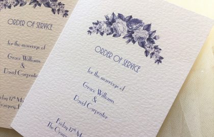 Blue Botanical Wedding Order of Service Books
