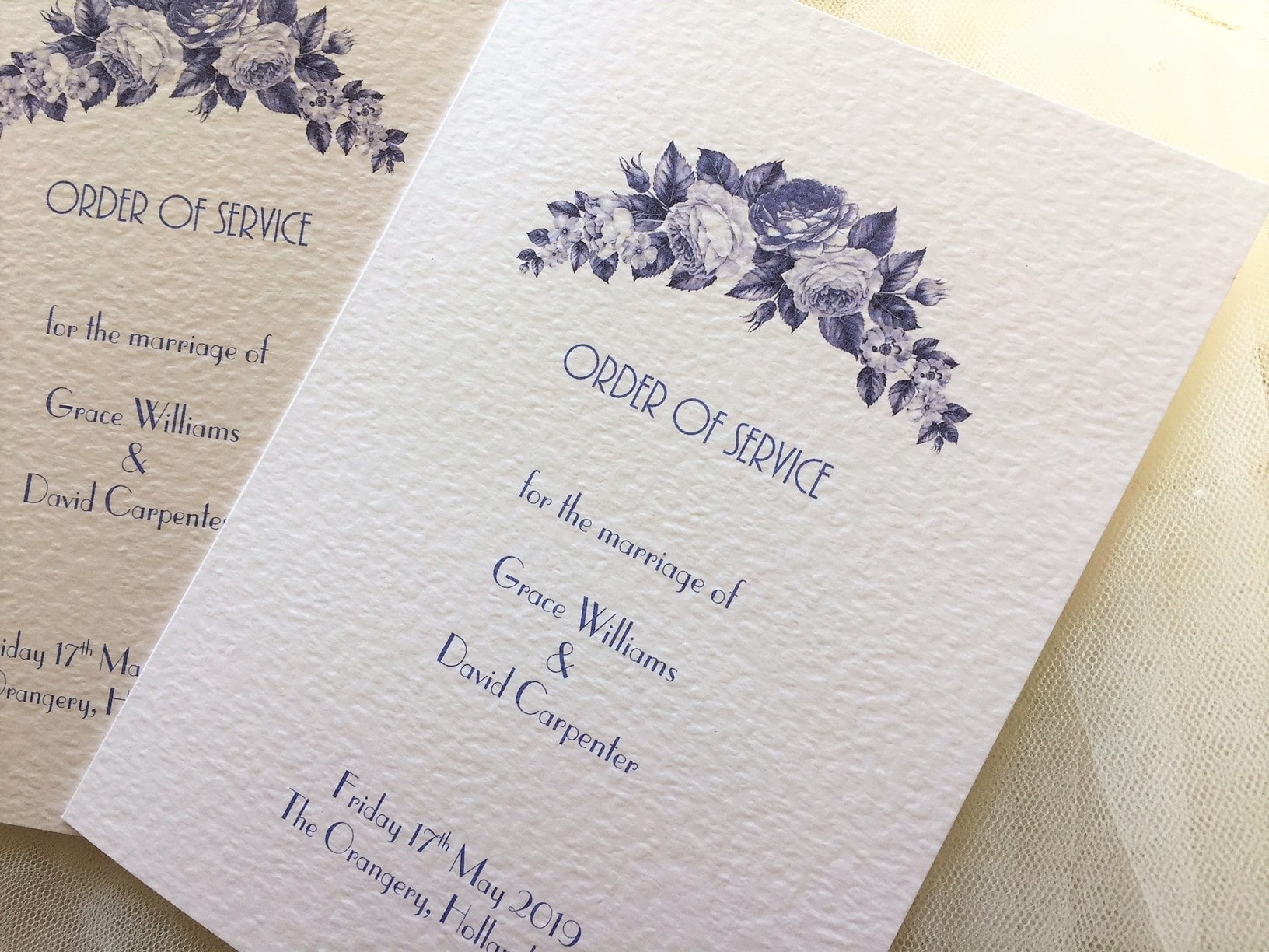 Blue Botanical Small Order of Service Books