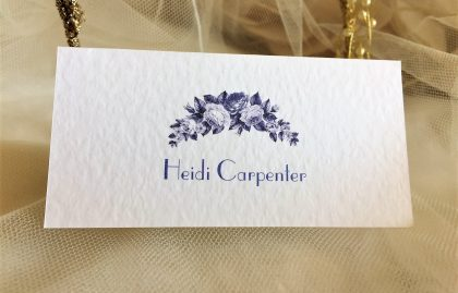 Blue Botanical Place Cards