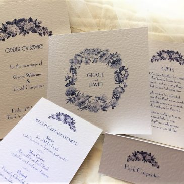 New Blue Botanical Wedding Stationery Range
